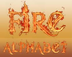 Flaming-Fire Alphabet Brushes by myszka011