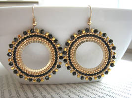 Black and Gold Beaded Hoops by albitas
