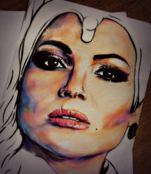 Facial Portrait of Lana Parrilla by ArtbyBernadette
