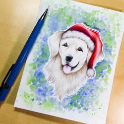Golden Santa Pupper + Speedpaint by Artistlizard101