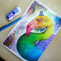 Crayola Challenge (Rainbow Flamingo) +video by Artistlizard101
