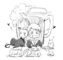 cat and Rabbit by heliooooo