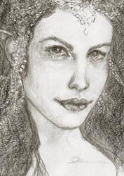 Sketchcard - Arwen Undomiel by Dkelabirath