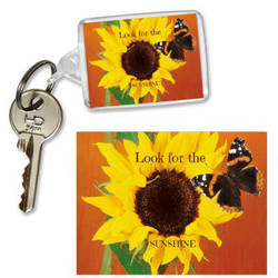 Sunflower and Butterfly Keyring by sevvysgirl