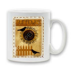 Sunflower and Crows Mug by sevvysgirl
