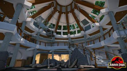 Jurassic Park Visitor Centre Interior by metonymic