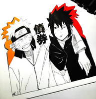 Sasuke and Naruto by artxnoa