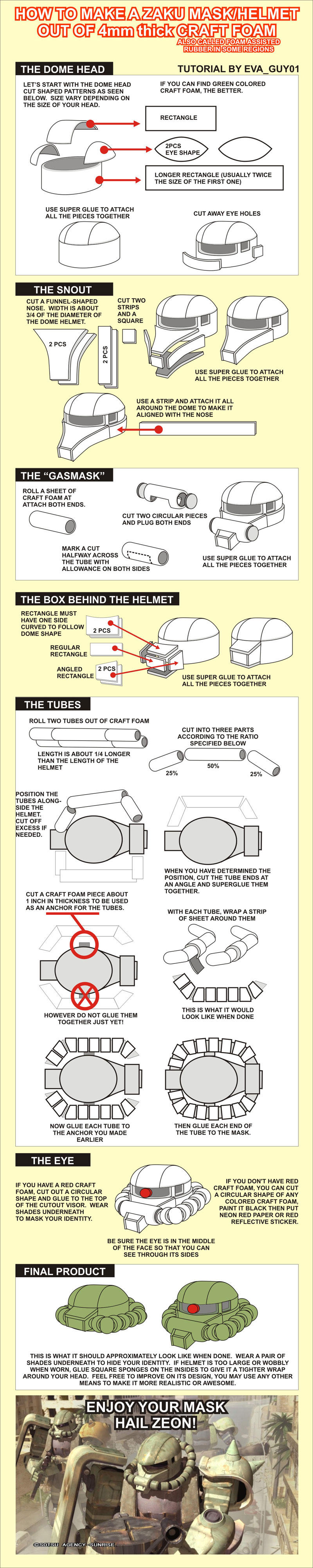 Zaku Mecha Helmet Tutorial by eva-guy01