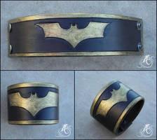 Batman Wristband - Leather by JAFantasyArt