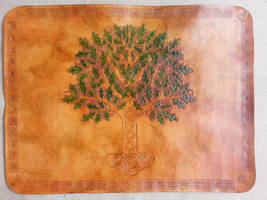 Celtic Tree Leather Place Mat by JAFantasyArt