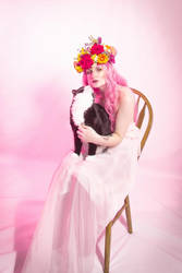 Flower crown mucha inspired with kitty by Sinned-angel-stock