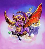 Spyro Colored SKETCH by BahamutAXIOM
