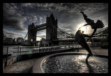 Tower Bridge, scaffolded. by bionicoz