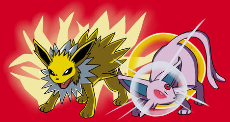 Jolteon And Espeon by Stolken