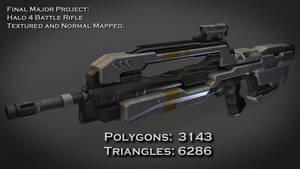Halo 4 Battle Rifle - Textured and Normal Mapped. by borysked