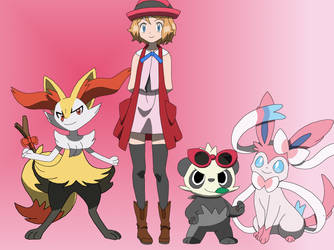 Serena and her Pokemon by PokemonXYLover1998
