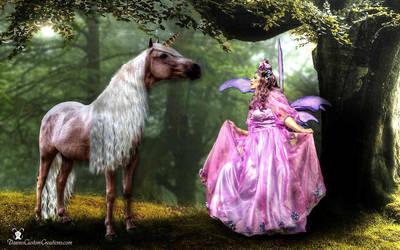 fairy with a unicorn by dawnsattire