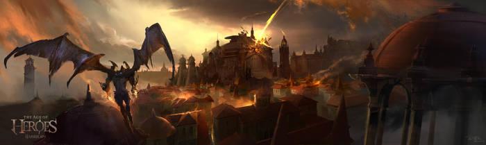 City fire by kyzylhum