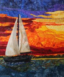 Sailboat at Sunset - a fabric art piece by Caraut