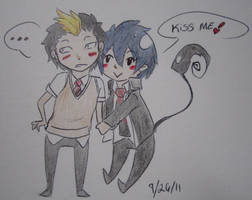 Blue Exorcist - Bon and Rin by batcat1