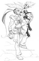 Lazard and Sthena by falingard