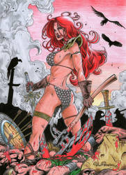 RED SONJA colored commission by PowRodrix