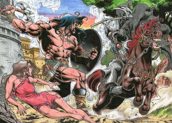 CONAN vs DEATH DEALER  colored commission by PowRodrix