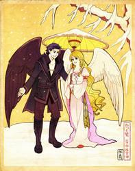 Crow and Heron Redux by Mizutori