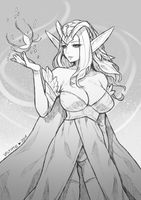 Inktober2018 #1 | High-Elf Sorceress by Valkymie