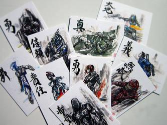 Artist Trading Card set ME Sumie Series :) by MyCKs