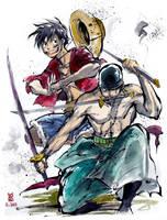 One Piece Luffy and Zoro Sumie style by MyCKs