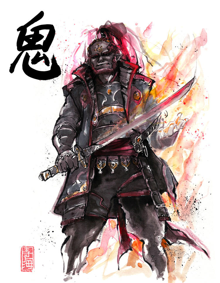 Ganon Sumi Style With Calligraphy By Mycks On Deviantart