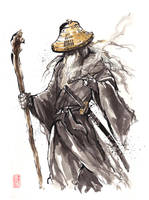 Gandalf Samurai sumi style by MyCKs
