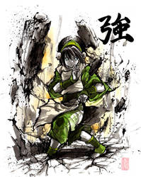 Toph with sumi and watercolor by MyCKs