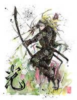 Legolas Samurai Archer Sumi and watercolor by MyCKs