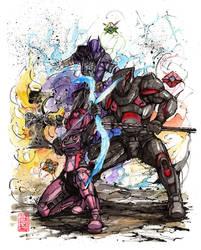 Destiny Trio sumi ink and watercolor by MyCKs