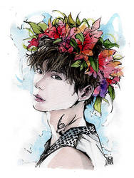Lee Jong-Suk watercolor and some sumi ink by MyCKs