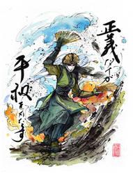 Avatar Kyoshi sumi ink and watercolor by MyCKs