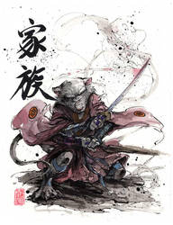 Master Splinter Sumi and watercolor by MyCKs