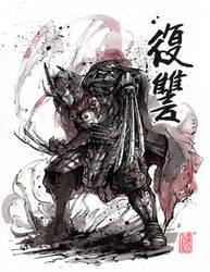 Master Shredder sumi and watercolor by MyCKs