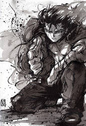 Yusuke Urameshi from Yu Yu Hakusho sumi ink by MyCKs