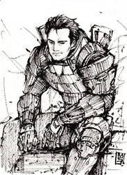 Kaidan from Mass Effect Ink sketch by MyCKs