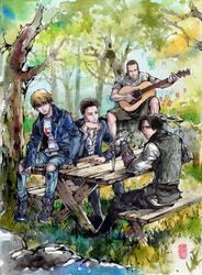 Suga (BTS), Yunho (TVXQ), Jack Johnson, and Ezio! by MyCKs