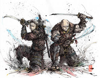 Samurai Duo - Geralt and Letho by MyCKs