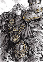 Arthas Menethil INK sketch by MyCKs