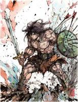 Conan the Barbarian Ink and Watercolor by MyCKs