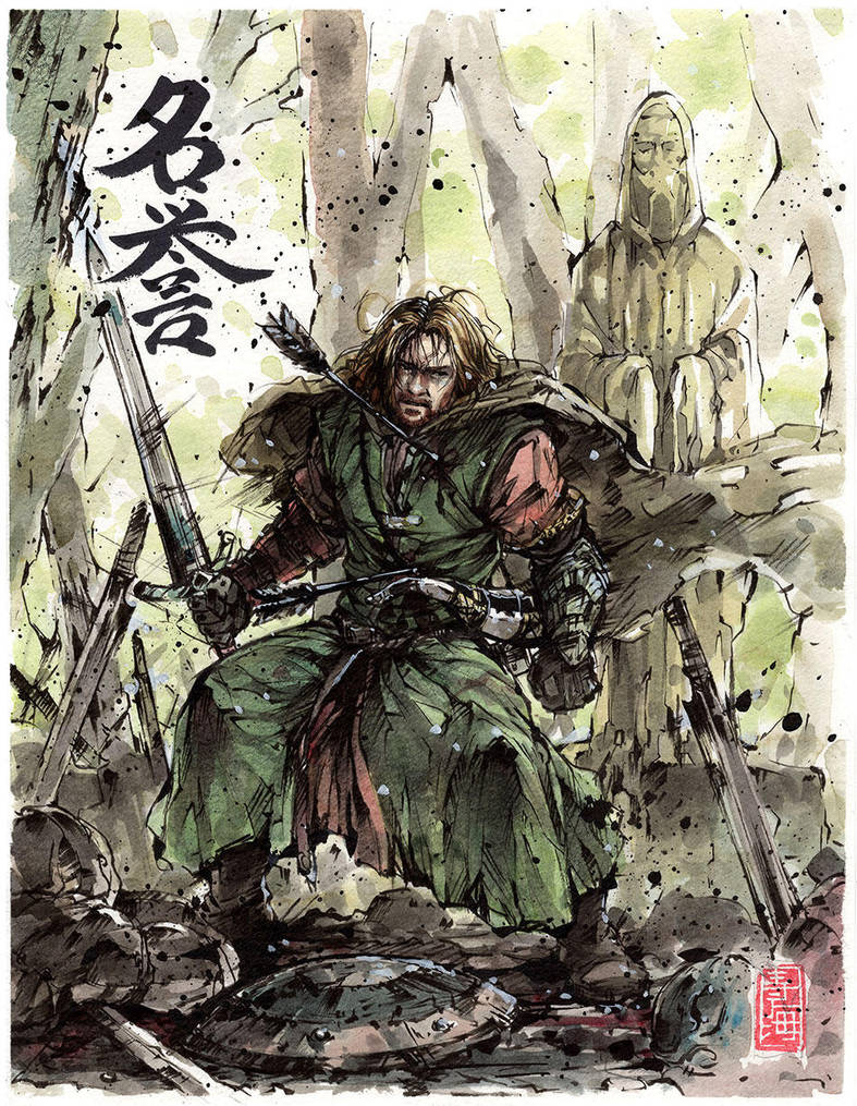 Boromir last moments with calligraphy Honor by MyCKs