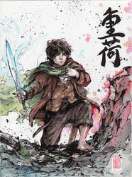 Frodo with calligraphy- Burden Sumi/Watercolor by MyCKs