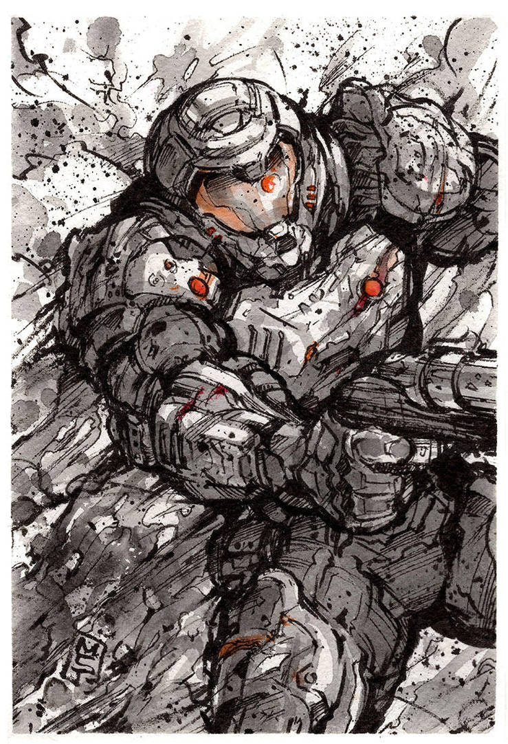 Doomslayer ink sketch giveaway! by MyCKs