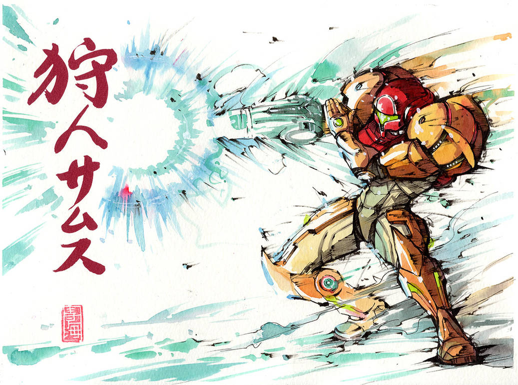 Samus with calligraphy! by MyCKs
